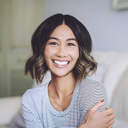 Centre-parted wavy bob hairstyle