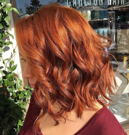 red curled lob hairstyle