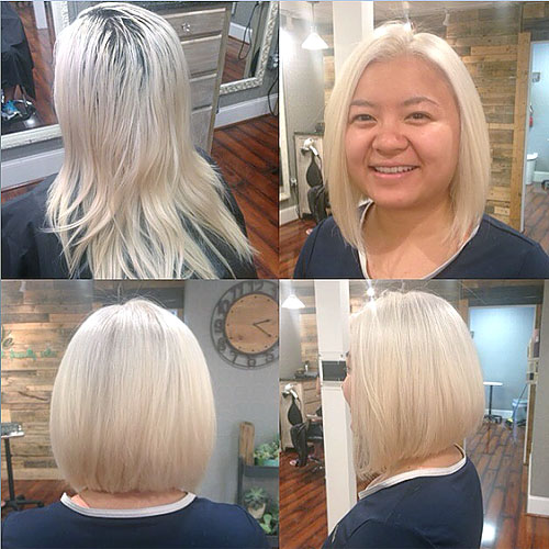 collarbone blonde bob for a round face