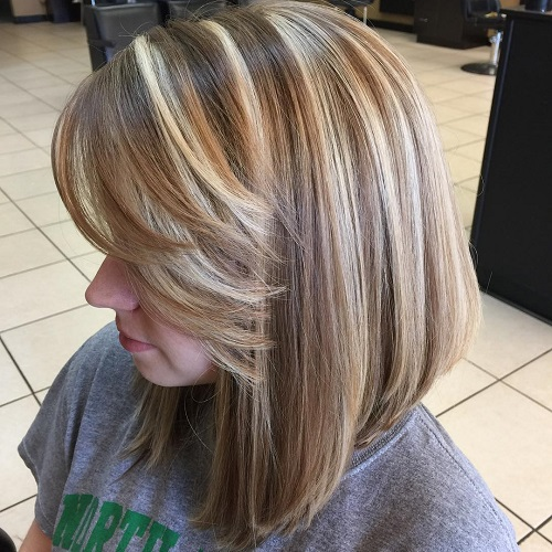 Caramel Lob With Blonde Highlights