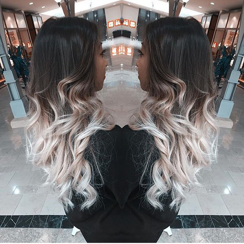 black to ash blonde ombre for long hair