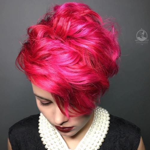 Short Curly Bright Red Hairstyle