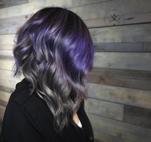 gray and purple balayage hair