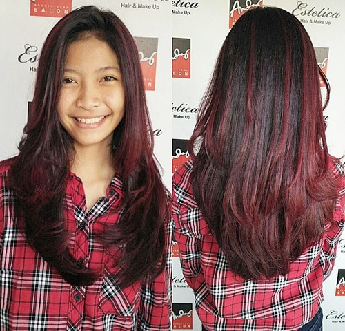 black hair with burgundy ombre highlights