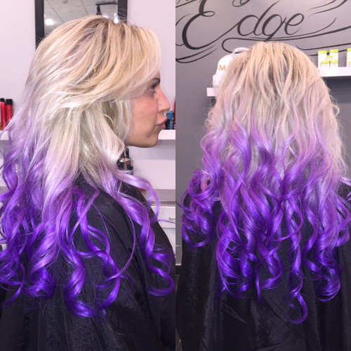 long blonde hair with purple ombre