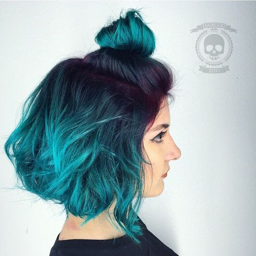 Brown and teal ombre hair