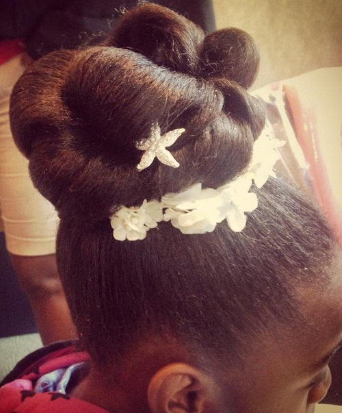 black flower girl updo hairstyle