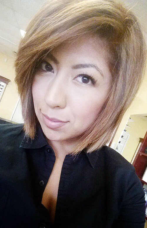 layered side-parted bob for thick hair