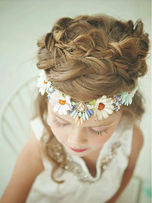 messy braided crown girls hairstyle