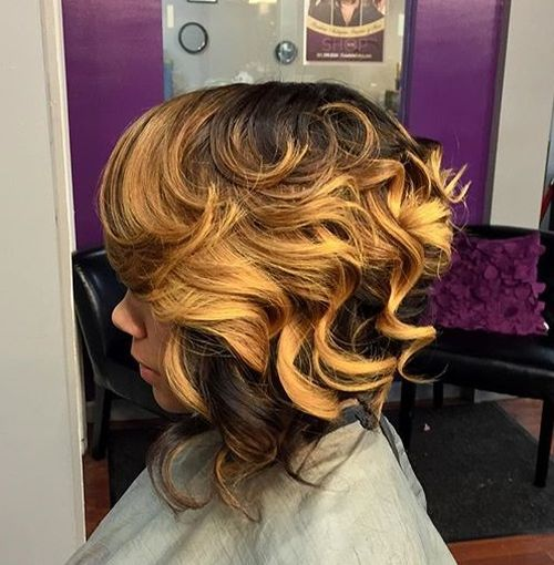 curly two-tone bob for African American women