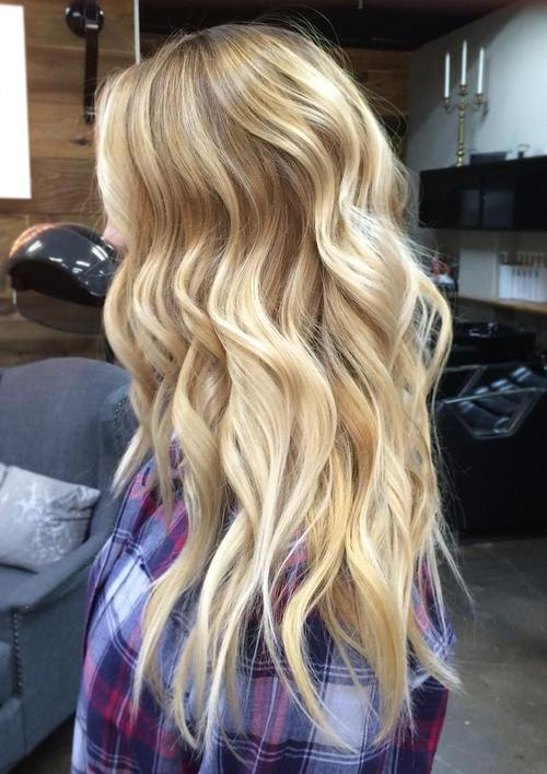 long blonde hair with balayage highlights