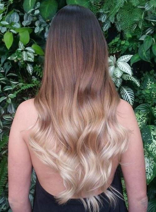 black to blonde long ombre hair