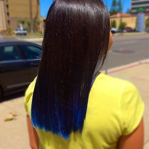 dark brown hair with blue dip dye