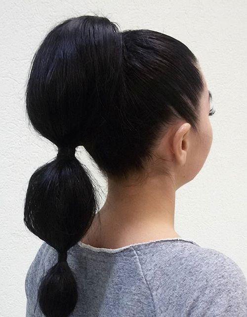 bubble pony for long straight hair