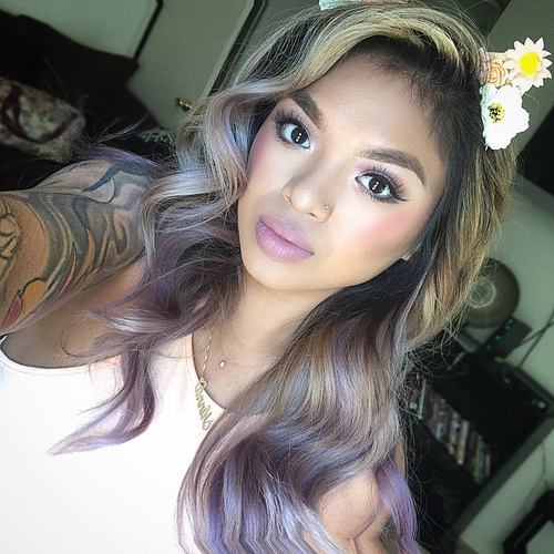 brown blonde hair color with lavender highlights