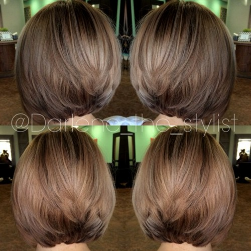 layered ashy brown bob