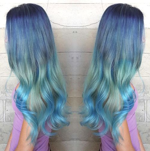 purple to blue ombre hair