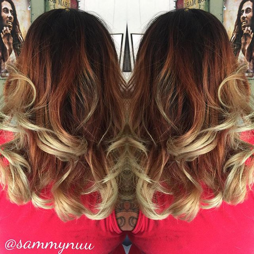 dark brown to red ombre with blonde ends