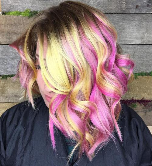 Pastel Yellow And Pink Wavy Lob