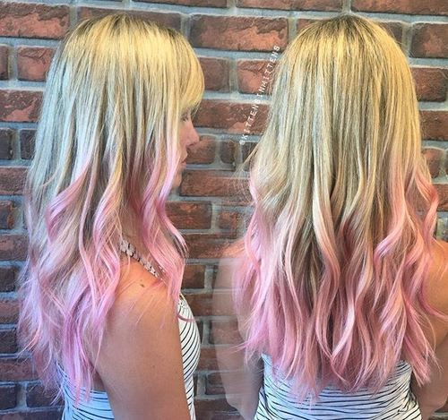 pastel pink dip dye for blonde hair