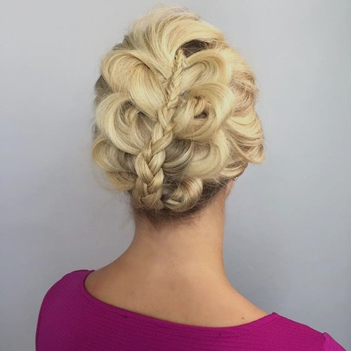 curly updo with a braid