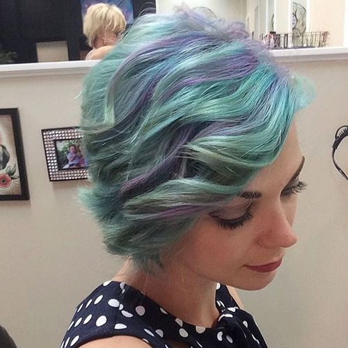 turquoise blue hair with lavender highlights