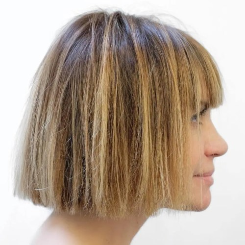 Straight Honey Blonde Highlighted Bob