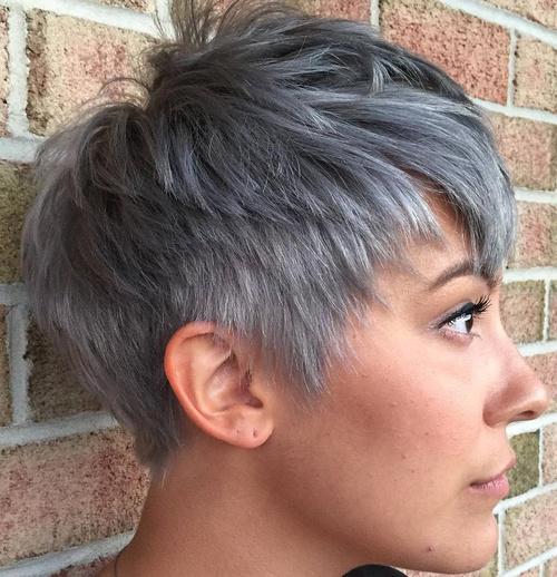 Layered Gray Pixie
