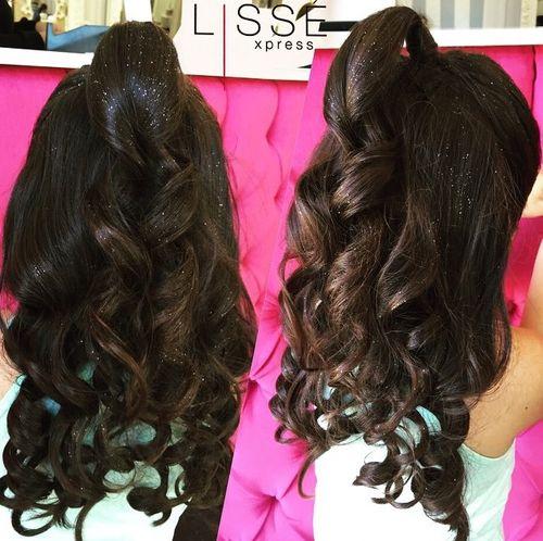 glamorous curly half ponytail