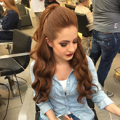 Wavy Half Pony With A Bouffant For Long Hair