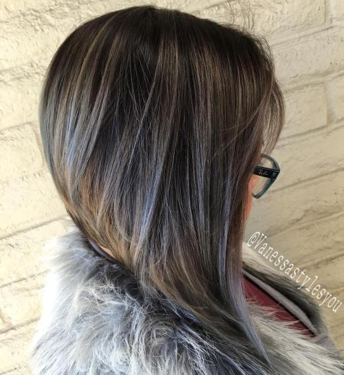 Brown Bob With Pastel Purple Babylights