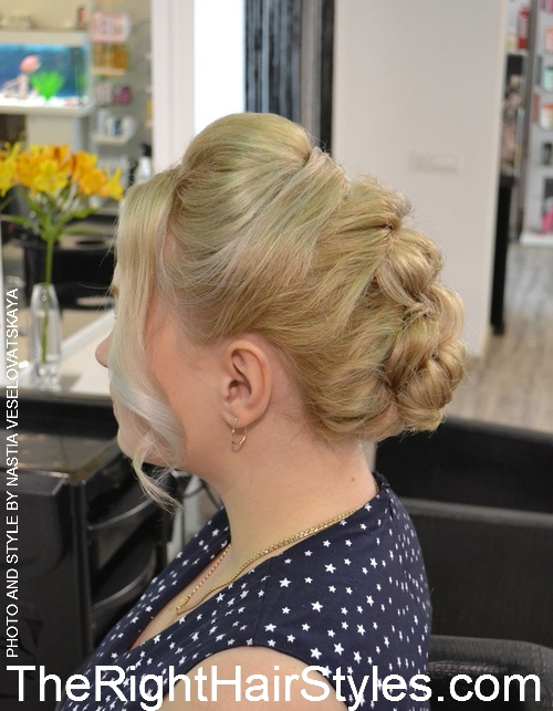 twisted updo with a bouffant