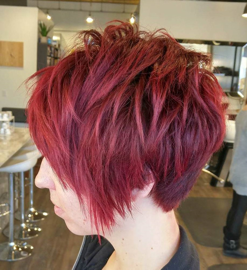 Long Burgundy Pixie