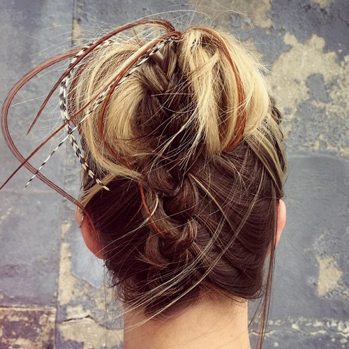 cute braided updo for medium hair