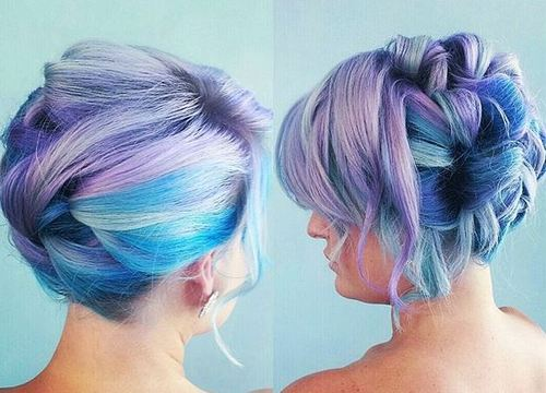 fancy updo for lavender and blue hair