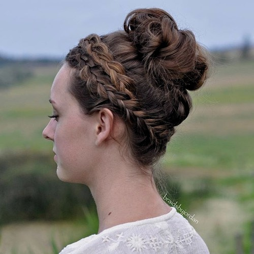 curly bun with headband braid