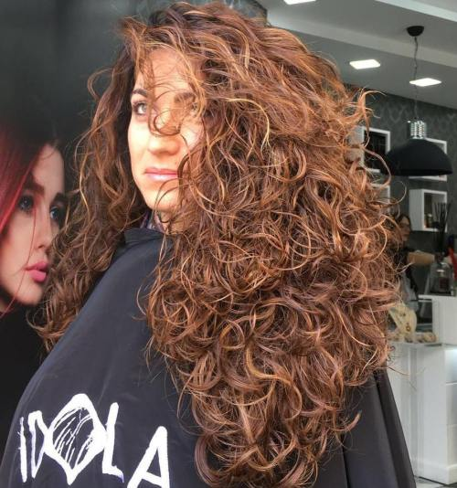 Long Curly Chestnut Brown Hairstyle