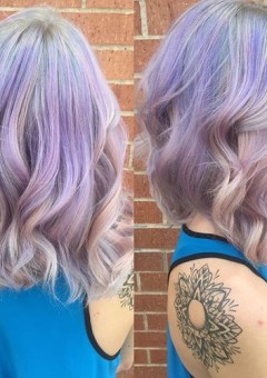 medium pastel purple wavy hairstyle