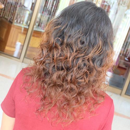 stacked perm for medium length hair