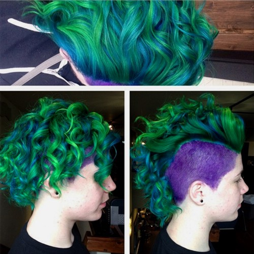 curly green mohawk with purple sides