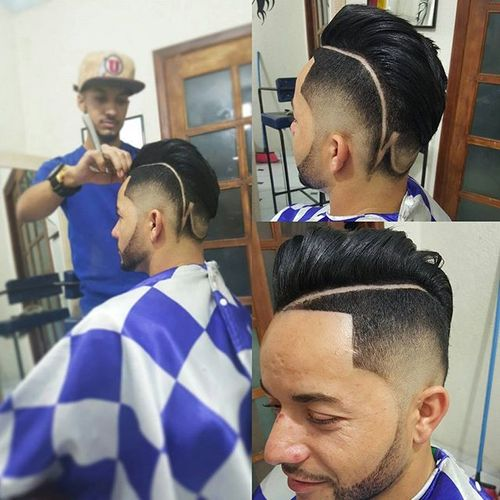 pompadour with fade and shaved lines