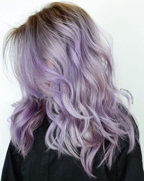Medium Layered Pastel Purple Hair