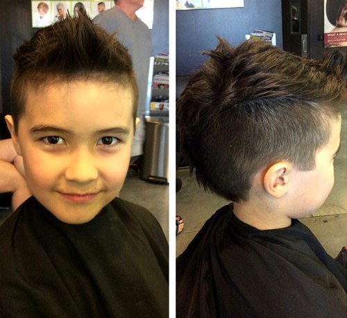 boy's faux hawk hairstyle