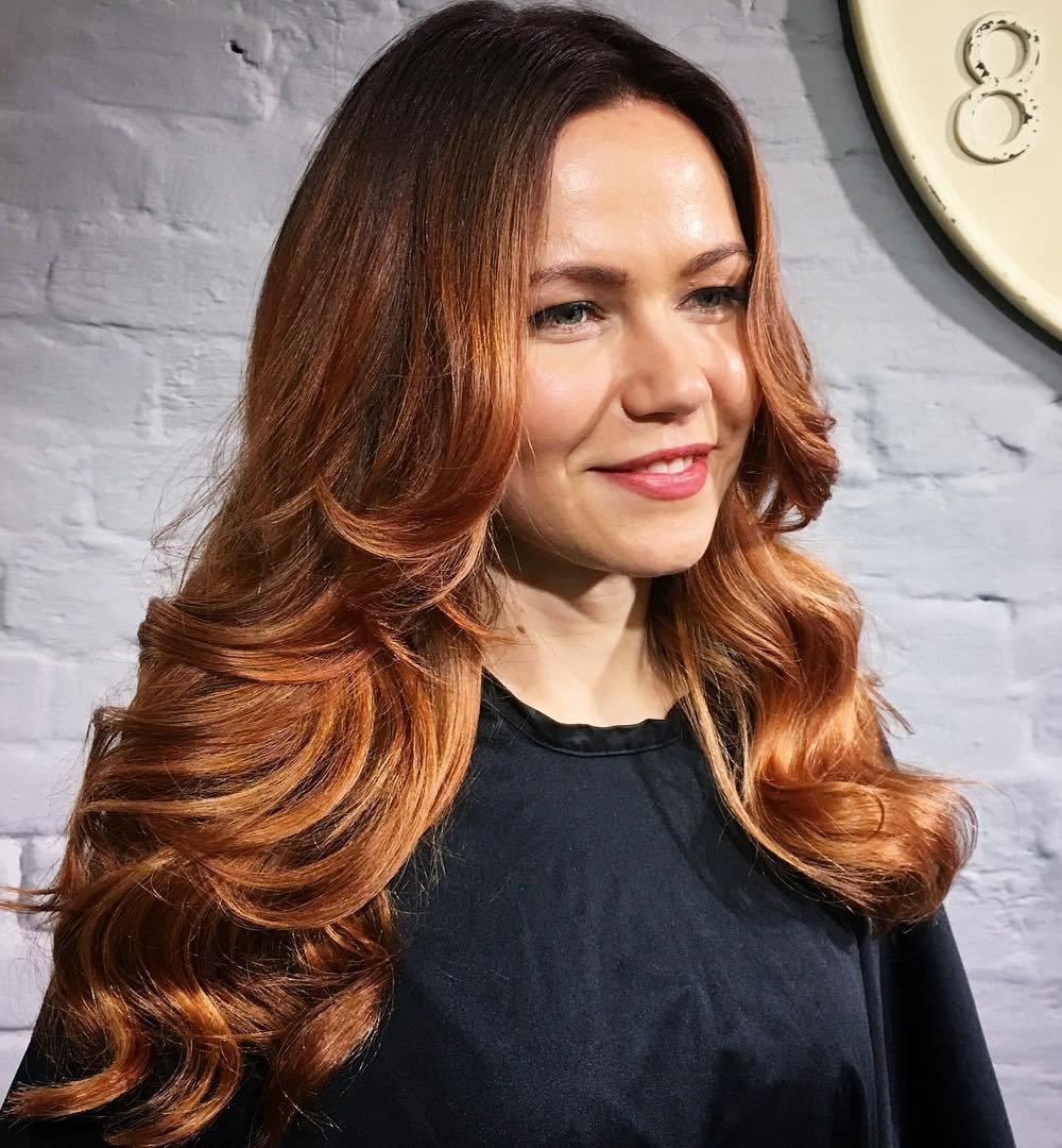 Long Caramel Hair With Root Fade