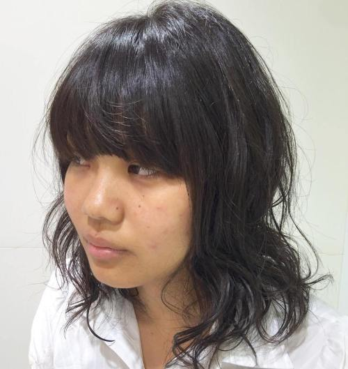 Perm For Fine Hair With Bangs