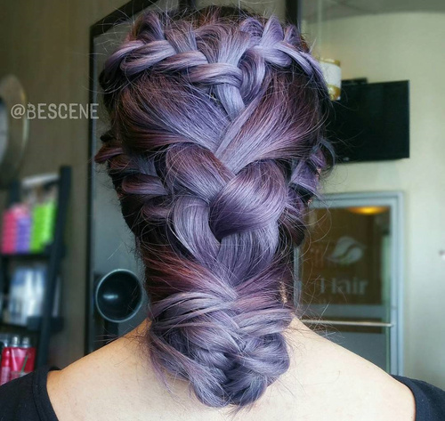 pastel purple braided hairstyle