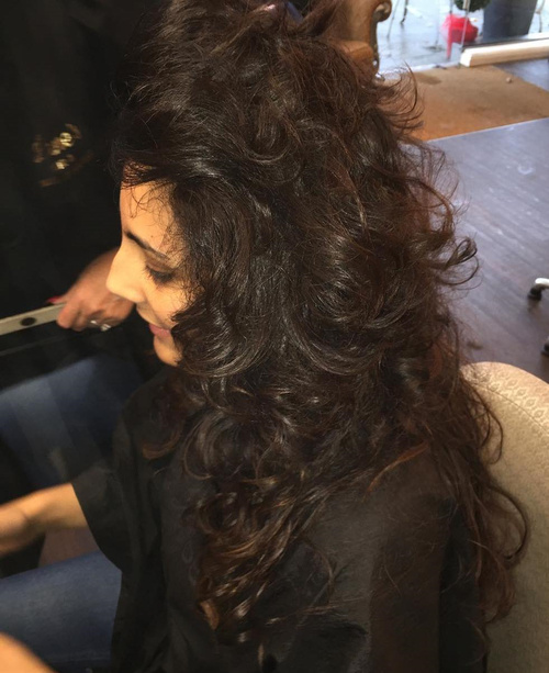 long brunette perm hairstyle
