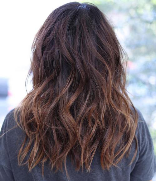 Dark Hair With Chestnut Ombre Highlights