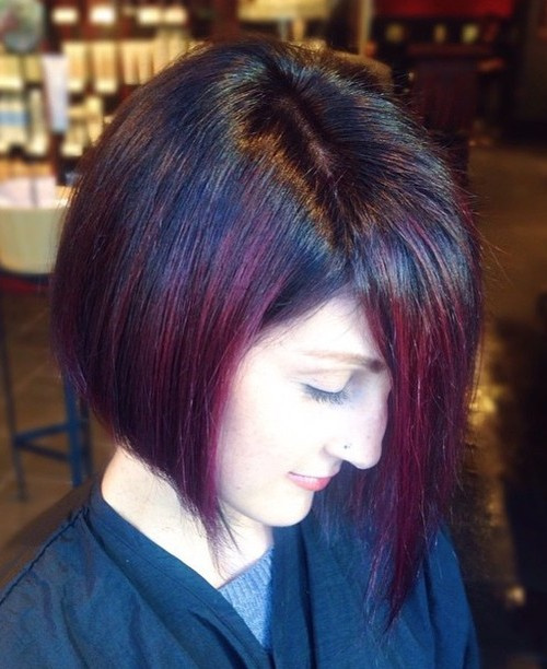 black bob with purple balayage highlights