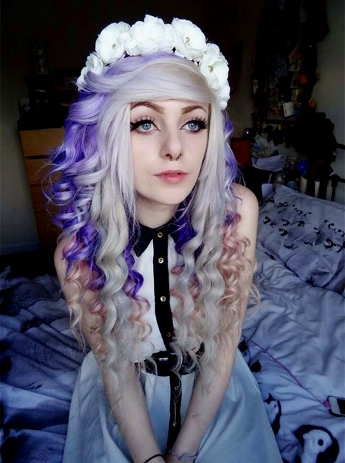 platinum hair with purple and pastel pink highlights